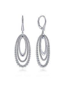 Gabriel & Co Sterling Silver Three Oval Bujukan Dangle Earrings