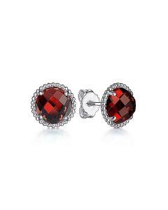 Gabriel & Co Sterling Silver Garnet and Bujukan Halo Stud Earrings