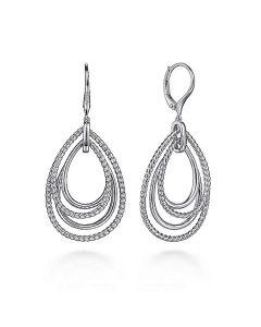 Gabriel & Co Sterling Multi Row Open Rope Teardrop Leverback Earrings