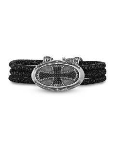 Scott Kay Sterling Silver Stingray Leather Bracelet with Black Spinel Cross