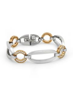 """Rebecca Stainless Steel & Pink Gold Coated Bronze """"Tropezienne"""" Bracelet with Crystal Stones"""