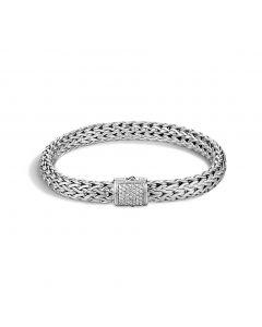 John Hardy Sterling Silver Classic Chain Pave Diamond Clasp Bracelet