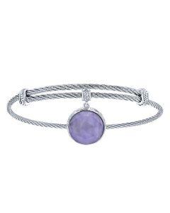 Gabriel & Co. Sterling Silver & Stainless Steel Rock Crystal Over Purple Jade Bangle Bracelet