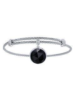 Gabriel & Co. Sterling Silver & Stainless Steel Rock Crystal Over Black Onyx Bangle Bracelet