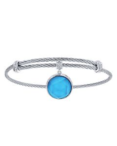Gabriel & Co. Sterling Silver & Stainless Steel Rock Crystal Over Turquoise Bangle Bracelet