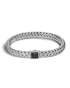 John Hardy Sterling Silver Classic Chain Black Sapphire Clasp Bracelet