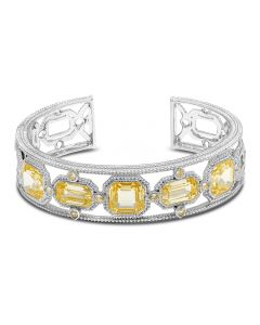 Judith Ripka Sterling Silver Aria Collection Canary Crystal Cuff Bracelet