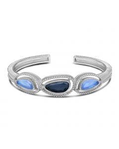 Judith Ripka Sterling Silver Capri Collection Multi Stone Cuff Bracelet