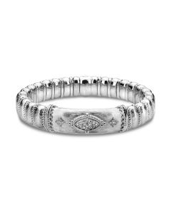 Gabriel & Co Sterling Silver and Steel Pave Diamond Bangle