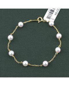 Mikimoto 18K Yellow Gold 5X5.5MM Pearl Chain Bracelet