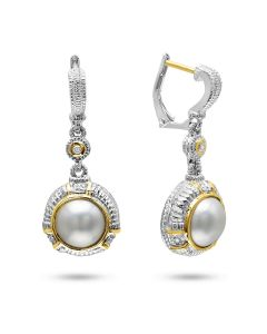 Judith Ripka Sterling Silver and 18KYG Pearl and Diamond Earrings