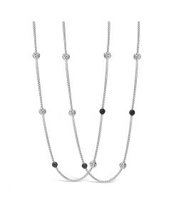 """Charles Krypell Sterling Silver 38"""" Ivy Ball Station Necklace"""
