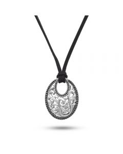 Charles Krypell Sterling Silver Oval Ivy Black Sapphire Pendant