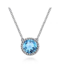 Gabriel & Co Sterling Silver Round Blue Topaz and Bujukan Pendant Necklace
