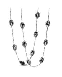 Charles Krypell Sterling Silver Hematite Station Necklace