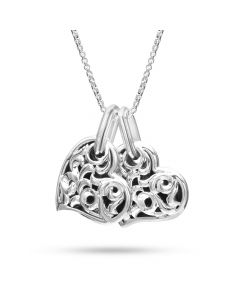 """Charles Krypell Sterling Silver """"Two Hearts Beat as One"""" Large Twin Heart Pendant"""