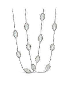 Charles Krypell Sterling Silver Mother of Pearl Station Necklace
