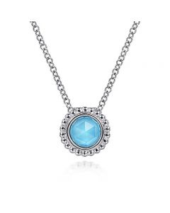 Gabriel & Co Sterling Silver Round Turquoise Bujukan Halo Pendant Necklace