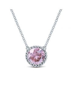 Gabriel & Co Sterling Silver Round Pink Amethyst Bujukan Halo Pendant Necklace