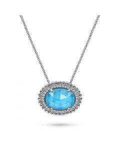 Gabriel & Co Sterling Horizontal Oval Turquoise and White Sapphire Pendant Necklace