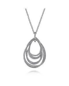 Gabriel & Co Sterling Multi Rope Teardrop Pendant Necklace