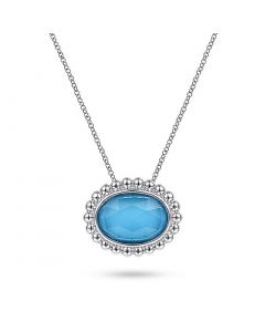 Gabriel & Co Sterling Horizontal Oval Turquoise and Bujukan Frame Pendant