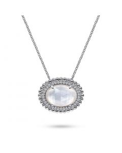 Gabriel & Co Sterling Horizontal Oval Mother of Pearl and White Sapphire Pendant Necklace