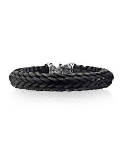 Scott Kay Sterling Silver Men's Small Black Leather Kodiak Bracelet