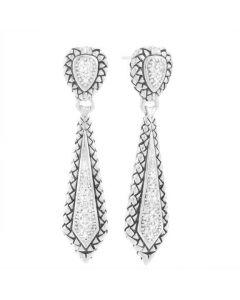 Scott Kay Sterling Silver Diamond Basket-Weave Drop Earrings