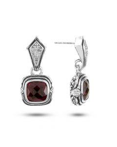 Scott Kay Sterling Silver Diamond and Rhodolite Garnet Basket-Weave Drop Earrings