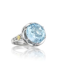 Tacori 18k925 Round Blue Topaz Ring