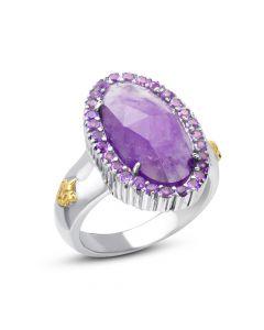 Phillip Gavriel Sterling Silver & 18KYG Rock Candy Amethyst Fleur-De-Lis Ring