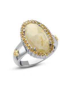 Phillip Gavriel Sterling Silver & 18KYG Rock Candy Golden Rutilated Quartz Fleur-De-Lis Ring