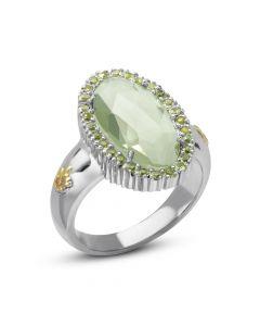 Phillip Gavriel Sterling Silver & 18KYG Rock Candy Green Amethyst Fleur-De-Lis Ring