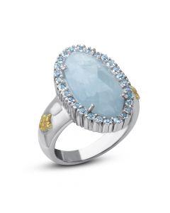 Phillip Gavriel Sterling Silver & 18KYG Rock Candy Milky Aquamarine Fleur-De-Lis Ring