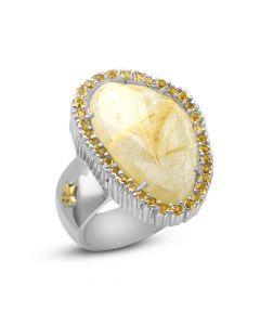 Phillip Gavriel Sterling Silver & 18KYG Rock Candy Pebble Golden Rutilated Quartz Ring