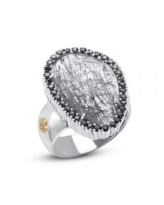 Phillip Gavriel Sterling Silver & 18KYG Rock Candy Pebble Rutilated Quartz Ring