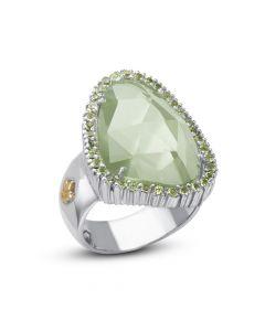 Phillip Gavriel Sterling Silver & 18KYG Rock Candy Pebble Green Amethyst Ring