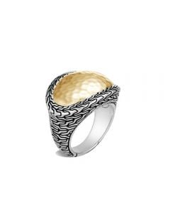 John Hardy Sterling/ 18K Bonded Yellow Gold Classic Chain Hammered Ring