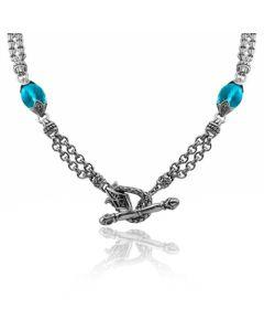 Scott Kay Sterling Silver Blue Topaz Double Basket-Weave Necklace