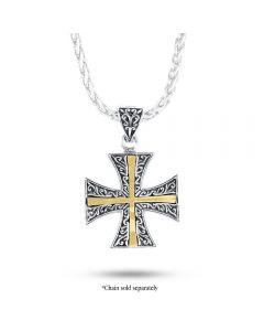 Arista Sterling Silver & 18K Yellow Gold Medium Engraved Maltese Cross Pendant