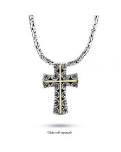 Arista Sterling Silver and 18k Yellow Gold Garnet Beaded Cross Pendant