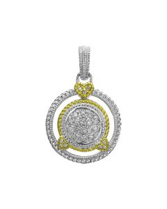 Judith Ripka Sterling Silver and 18KYG Pave Circle Clip-On