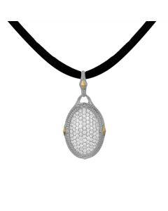 Judith Ripka Sterling/18KYG Oval Pave White Sapphire Enhancer