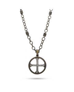 Dev Valencia Sterling Silver, Rhodium & 14KYG Diamond Cross Pendant