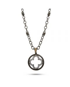 Dev Valencia Sterling Silver, Black Rhodium & 14KYG Diamond Clover Pendant