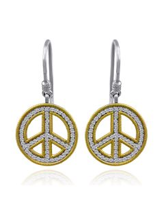 Dev Valencia Sterling Silver & 18K Yellow Gold Prong Set Peace Sign Dangle Earrings