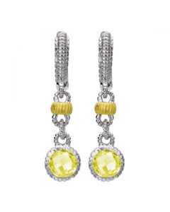 Judith Ripka Sterling Silver & 18KYG Stones by the Yard Canary Crystal Earrings