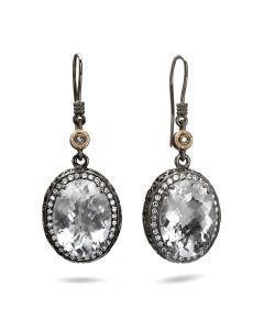 Dev Valencia Sterling Silver, Rhodium & 14KYG White Quartz Earrings