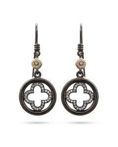 Dev Valencia Sterling Silver, Rhodium & 14KYG Diamond Clover Earrings